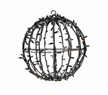 3D bal zwart warm wit en twinkle 35 cm ø