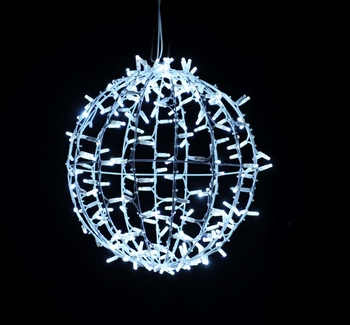 3D bal wit koud wit en neon twinkle 30 cm ø