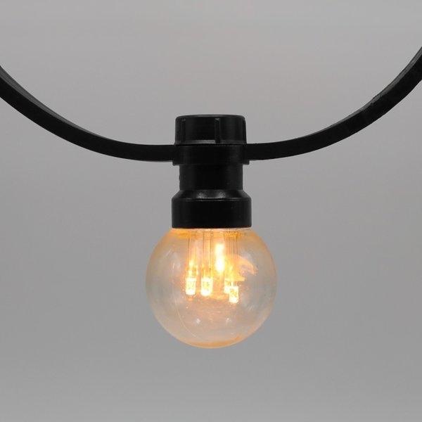 Prikkabels zwart 2x1,5mm² warm wit transp. kap